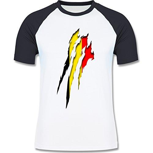 Länder - Belgien Krallenspuren - zweifarbiges Baseballshirt für Männer Weiß/Navy Blau