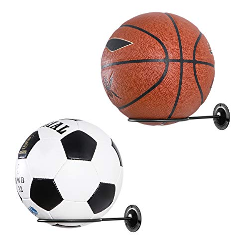 Clispeed Wandhalterung Ball Halter Ballhalterung für Basketbälle Fußball Football Volleyball (Schwarz, 2 STÜCKE) -