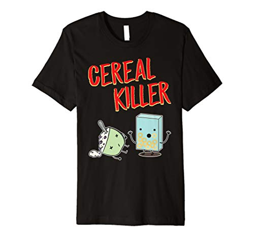 Funny Cereal Killer T-Shirt Food Graphic Tees Novelty Gifts
