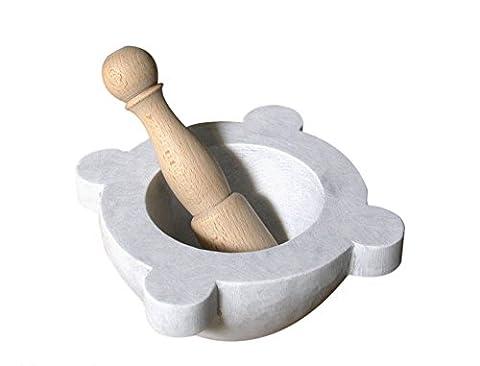 Mortier en marbre blanc carrara Vintage avec pilon bois de cuisine 20x 20cm Big White Marble Mortar Stone Kitchen with wooden Pestle Handmade Classics Home Old interior design