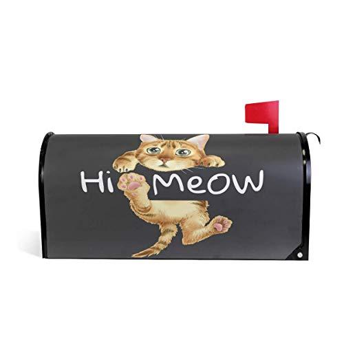 Katzen Niedliche Tragen Kostüm - 25,4 x 20,78 Zoll übergroße lustige Katzen tragen Clown Kostüm mit Luftballons niedlich hängen Hallo Meow magnetische Mailbox Cover MailWraps Garten Hof Inneneinrichtungen für draußen
