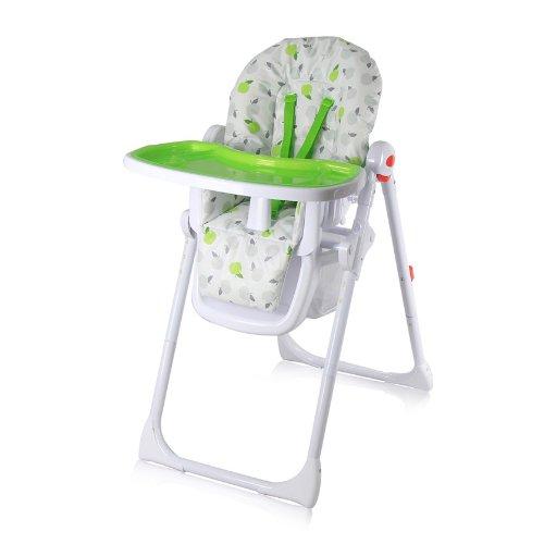 iSafe MAMA Hochstuhl-mit verstellbarer Rückenlehne, gepolsterter Babyhochstuhl, verstellbar, mit doppeltem Tisch und Ablagekorb, Apfelmuster