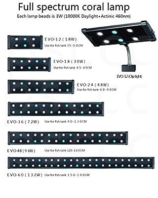 110V 240V 18W lumière de Clip du Corail LED d'aquarium d'eau de mer à Spectre Complet.Support de lumière for Aquarium Blanc/Bleu Clair Lampes de réservoir de Poisson