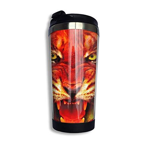 HOJJP Changan Edelstahl-Thermo-Isolierungs-Wasserflaschen Fantasy Fire Tiger-Print Reisetasse nicht auslaufender Sport-Wasserkocher für Outdoor, Laufen, Camping, Fitnessstudio (400 ml)