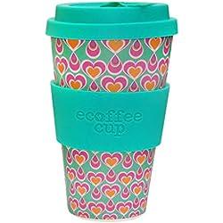 Ecoffee Cup Itchykoo Rosa, Turquesa 1pieza(s) taza y tazón - Taza/vaso (Solo, 0,4 L, Rosa, Turquesa, Fibra de bambú, Silicona, 1 personas(s), 1 pieza(s))