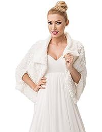 Veste femme pour mariee imitation fourrure de vison bolero cape doublure integrale