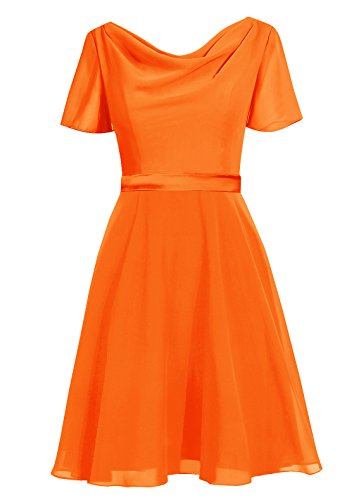 Dresstells Damen Abendkleider Knielang Homecoming Kleider Festliches Kleid Orange