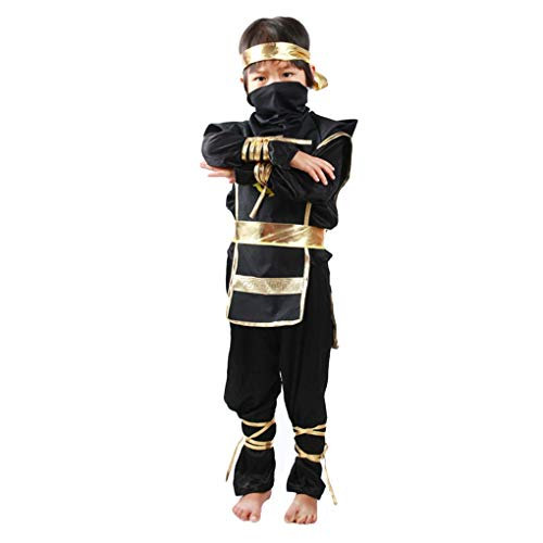 Morza Halloween-Kinder Ninja-Kostüme Halloween-Party-Jungen-Mädchen-Krieger Stealth Samurai Cosplay Assassinen-Kostüm-Partei-Abendkleid (Krieger Mädchen Kostüm)