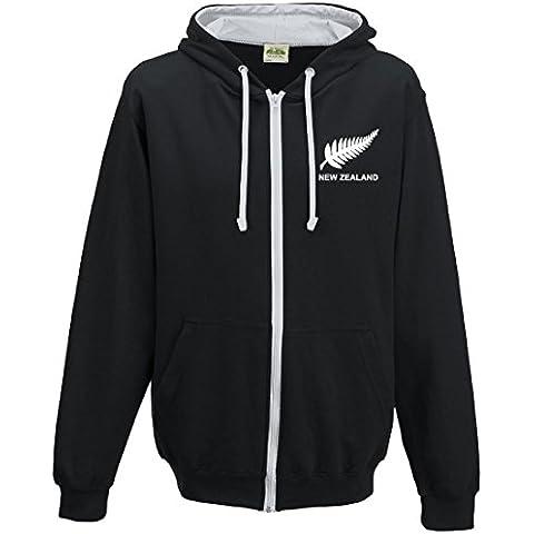 Da uomo, stile retrò, modello New Zealand rugby-Felpa con cappuccio