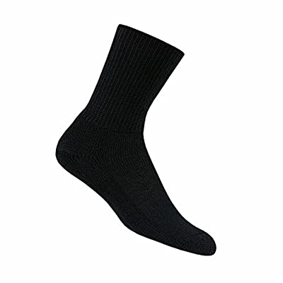 Thorlos Unisex Heavy Cushioned Crew Running Socks, Black - Medium