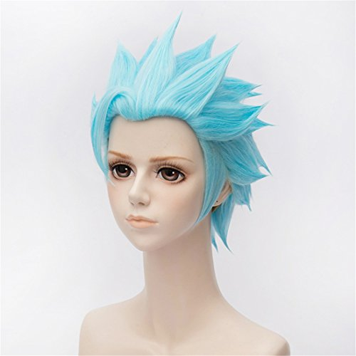 New Light Blue Wigs Anime Straight Short Cosplay Party Anime Wig Heat Resistant