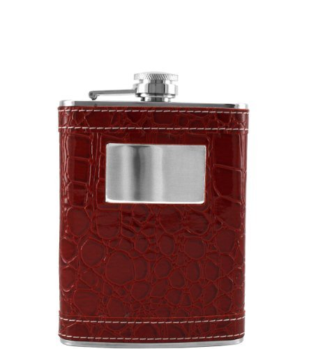 Personalized 8oz Stainless Steel Red Leather Wrap Flask Groomsman Gift - Engraved by Gifts Infinity -