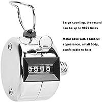 Contador manual de conteo, aleación de aluminio de 4 dígitos, contador de tono mecánico digital Clicker, herramienta de recuento manual de palma de número mecánico con gancho