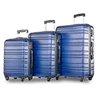 Beaulife.3 Pieces Luggage Sets ABS Hard Shell Suitcase Telescopic Handle 4 Spinner Wheels Durable Trolley Case Hand Cabin Luggage for Families Individuals Groups (20/24/28 inch) - Blue