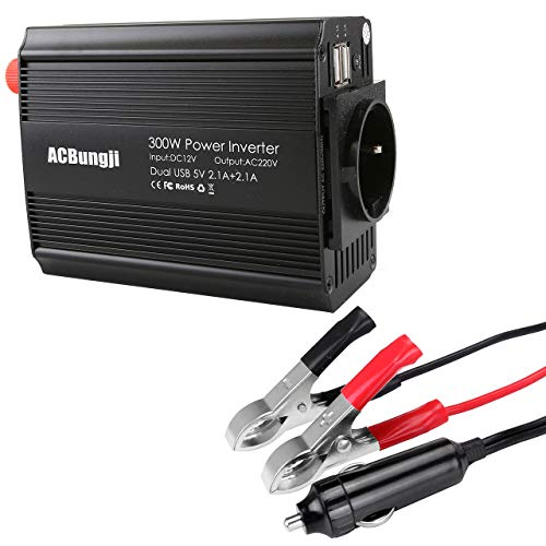 ACBungji Spannungswandler Wechselrichter Auto Wohnwagen Solar 12v auf 230v 300w Power Inverter DC zu AC inkl. Dual 2.1A USB Energieversorgung KFZ Zigarettenanzünder Stecker Krokodilklemmen Batterie (12 Volt Zu Ac Inverter)