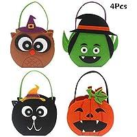 AUTOECHO® 4Pcs Calabaza de Halloween Trick or Treat Bags - Calabaza de Halloween en forma de Candy Tote Bag para niños - Ghost Festival Mall Cookie Bolsa de regalo Decoración de Halloween