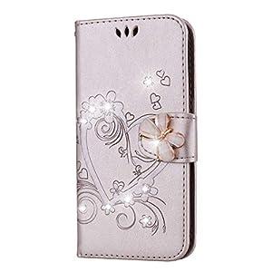 Galaxy S5 Mini Hülle, SONWO Premium Glitzer Strass Flip PU Leder Handyhülle mit Diamant Magnetverschluss und Ständer…
