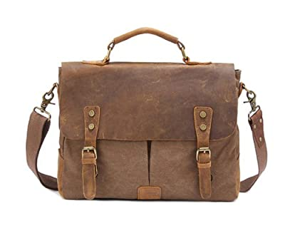 Kattee Retro Designer mens canvas leather satchel messenger shoulder tote bag briefcase