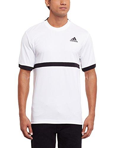 adidas Herren Court T-Shirt, White/Black, M (Adidas Court Shirt)