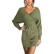 2157fbd34a5a MYSHOW Femme Robe en Maille à col en V avec Ceinture à la Taille Robe  Moulante