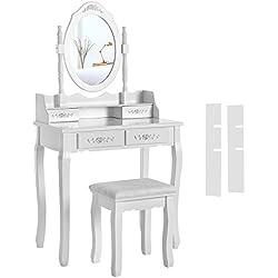 Songmics Tocador con cajones y taburete blanco 145 x 75 x 40 cm RDT77F