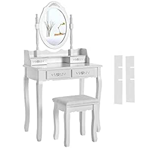 songmics schminktisch mit spiegel und 4 schubladen frisiertisch mit hocker eleganter. Black Bedroom Furniture Sets. Home Design Ideas