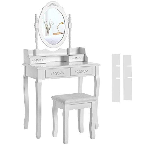 SONGMICS Coiffeuse Table de Maquillage avec 1 Miroir, 4 tiroirs et 1 Tabouret Blanche RDT77F