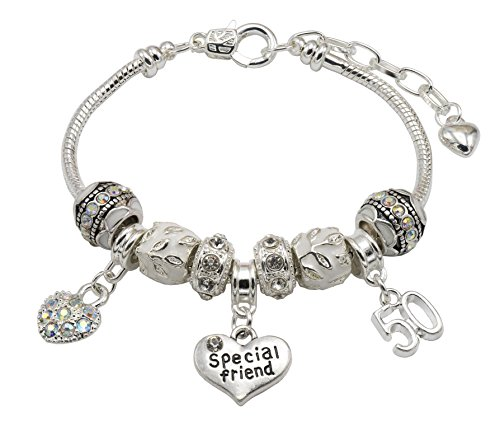 Special Friend 50th Birthday Charm Bracelet with Gift Box