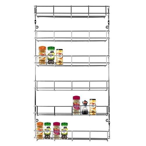 Asab Schrank Gewürzregal Organisator–Küchen-Gewürz-Stauraum–Tür- oder Wand-montiert–verchromtes Metall-Regal–abgestufte Konservengläser- und Flaschen-Halter., 6 Tier