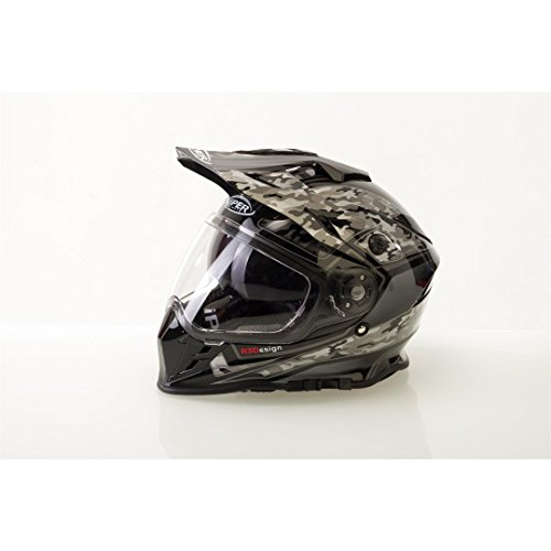Viper RXV288 Integral Motocross Enduro MX On Off Road Abenteuer Dreckiges Fahrrad Quad BMX ATV Motorrad Helm (XS-XL, Mehrfarben) - Camo Schwarz - XL (Helm Motorrad Atv)