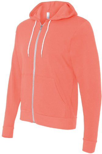Bella+Canvas: Unisex Poly-Cotton Full Zip Hoodie 3739 rot - korallenrot