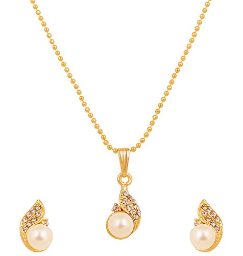 Touchstone Gold Toned Pearl Pendant Set With Chain For Women