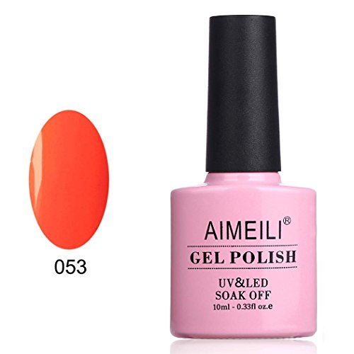Aimeili soak off uv led smalto in gel fluo semipermanente - neon orange zest (053) 10ml