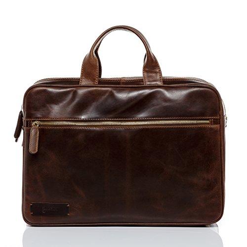 BACCINI Laptoptasche Leder BEN groß Businesstasche Herren 15 Zoll Laptop Umhängetasche Aktentasche mit gepolstertem Gerätefach echte Ledertasche Herrentasche braun