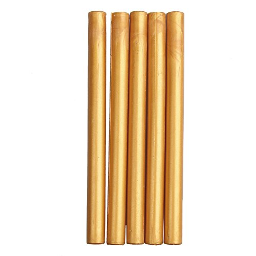 Caoly 5pcs flexible zylindrische Form Siegellack Stick Wachs Dichtungen Amber Gold