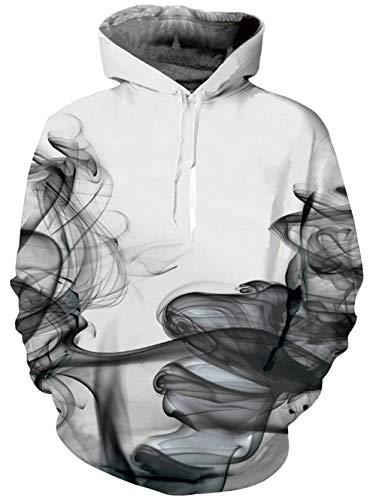 uideazone Herren Damen Schwarz Rauch Gedruckt Sweatshirt Teenage Casual Langarm Weiß Pullover,XXL-3XL,Schwarz-rauch