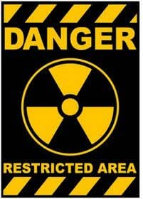 sticker auto collant - radioactivite nucleaire danger - (Import de Hong Kong)
