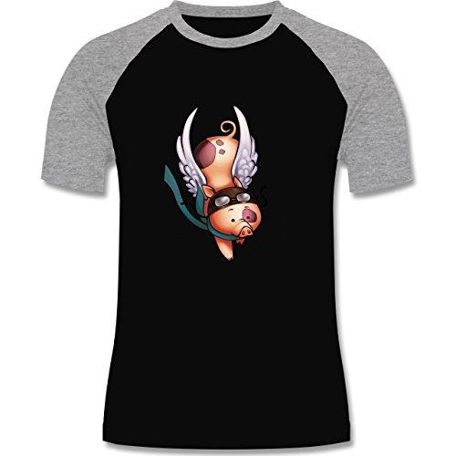 Sonstige Tiere - Fliegendes Schwein - zweifarbiges Baseballshirt für Männer Schwarz/Grau Meliert