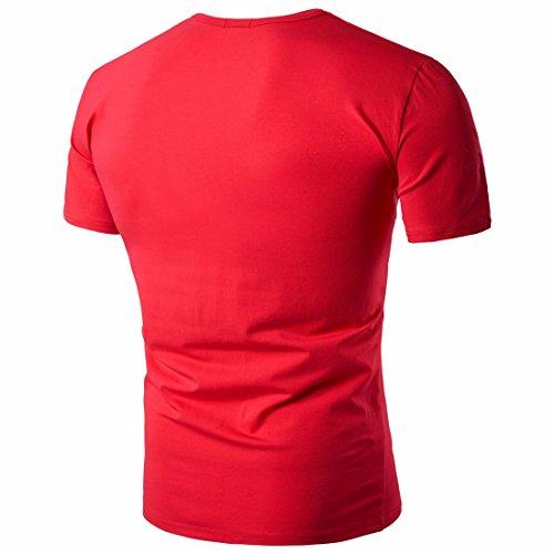 Maglietta a manica corta del manicotto di estate degli uomini di estate adatta a magliette sottili di colore solido dei fori rosso 2