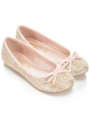 Monsoon Filles Ballerines en dentelle pailletée Taille Chaussures 35 Rose