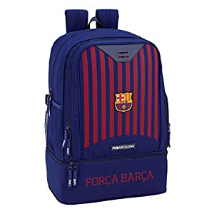 FC Barcelona Bolsa de Deporte, Mochila con zapatillero Equipaje para niños, Azul, 50 cm