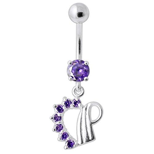 Barres de Pierre en cristal coeur tendance Design 925 argent Sterling avec le ventre en acier inoxydable Purple