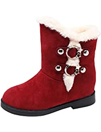 JUWOJIA Las Mujeres Botas De Nieve Ronda Toe Caliente Cuñas Slip-On Shoes,Rojo,37