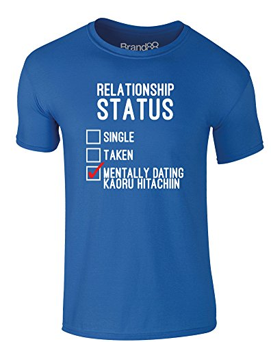 Brand88 - Mentally Dating Kaoru Hitachiin, Erwachsene Gedrucktes T-Shirt Königsblau/Weiß/Rote