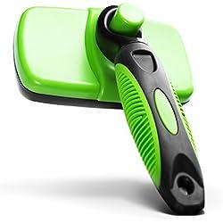 iHOY Brosse de Toilettage Peigne Self Cleaning pour Chien et Chat (Petits et Grands) pour Se débarrasser des poussières et Poils Morts (Vert)