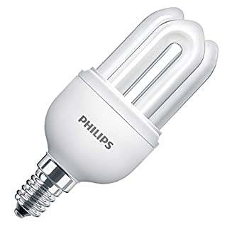 5 Pack of Philips Genie 8W = 38W Energy Saving Light Bulbs, SES E14 Screw Cap, Low Energy CFL Lamps, 10 Years, 6500k Cool White 240v