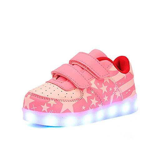 DoGeek Unisex Bambino Scarpe Con Luci Scarpe Led Luminosi Sneakers Con Luce Nella Suola Bright Tennis Shoes USB 7 Colori Lampeggiante Trainners Rosa