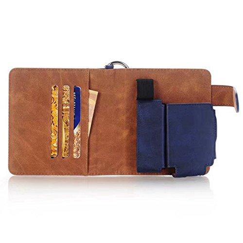 Tragbare Vape Fall, multifunktionale Eletronic Zigarette Ledertasche mit Feuerzeughalter und Card Cash Slots ( Color : Black ) Blue