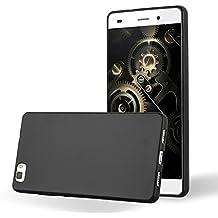 Cadorabo - Cubierta Protectora para Huawei P8 LITE de Silicona TPU con Efecto Metálico Mate – Case Cover Funda Carcasa Protección en METALLIC-NEGRO