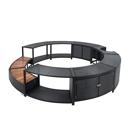 EstexoH&G Rattan Poolumrandung für Pools, Whirlpools bis zu 200 cm Durchmesser, schwarz